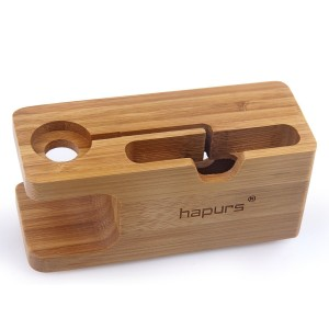 Apple Watch Stand, Hapurs iWatch Bamboo Wood Charging Dock Charge Station Stock Cradle Holder for Apple Watch Both 38mm and 42mm and iPhone 6 6 plus 5S 5