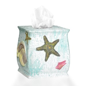 "Popular Home The Atlantic Collection Tissue Box, 8 by 8 by 8"" , Aqua"