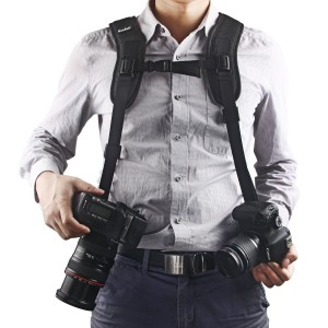Quick Release Double Dual Camera Shoulder Strap Harness,Konsait Adjustable Dual Camera sling Camera Neck Strap With Dust Brush And Dust Blower Ball