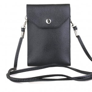 PU Leather 2 Layers Vertical Cellphone Pouch Bag with Shoulder Strap and Magnetic Button for Apple iPhone Samsung Galaxy and Other Smartphone Black