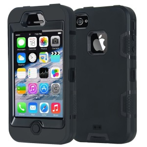 Armor iPhone 4 Case,Apple iPhone 4 4S Case,Shockproof Heavy Duty Combo Hybrid Defender High Impact Body Rugged Hard PC and Silicone Case Protective Cover For Apple iPhone 4 4S (Black)