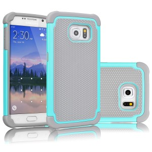 Galaxy S6 Case, Tekcoo(TM) [Tmajor Series] [Turquoise/Grey] Shock Absorbing Hybrid Rubber Plastic Impact Defender Rugged Slim Hard Case Cover Shell For Samsung Galaxy S6 S VI G9200 GS6 All Carriers