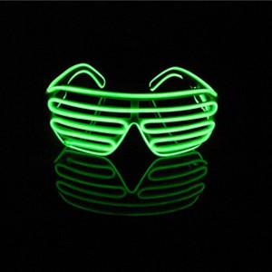 Aquat Light up Electroluminescent EL Wire LED Glasses Shutter Shades Voice Activated Eyeglasses RB02 (light green, black frame)