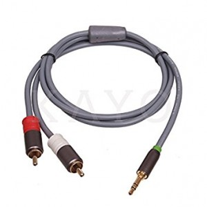 RCA Cable, KAYO Premium 3 Feet Dual Shielded Gold-Plated 3.5mm Male to 2RCA Male Stereo Audio Y Cable, GRAY Color