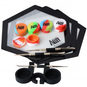 Silicone Alley, 3 Silver Carving Tool + 3 Non-stick Black Hexagon Mat + 5 Tie Dye-colored Wax Jars Containers + 1 Black Container Holder
