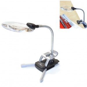 MLTOOLS Magnifier with LED Light - TableTop Clip-on or Stand - Flexible Tubes with 3rd Helping Hands MH8000