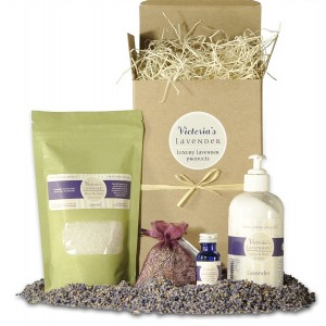 Victoria's Lavender Luxury Spa Gift Set - Lavender Bath Salts, Luxury Lotion, Lavender Essential Oil, and Sachet- Handmade in USA