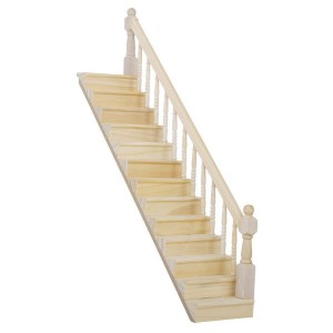 Tinksky 112 DIY Dollhouse Miniature Wooden Stairs with Right Handrail