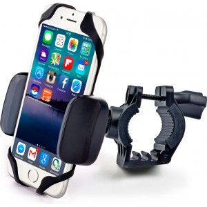 Bike and Motorcycle Cell Phone Mount - For iPhone 6 (5, 6s Plus), Samsung Galaxy Note or any Smartphone and GPS - Universal Mountain and Road Bicycle Handlebar Cradle Holder. +100 to Safeness and Comfort
