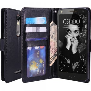 Droid Turbo 2 Case, LK Droid Turbo 2 Wallet Case, Luxury PU Leather Case Flip Cover Built-in Card Slots and Stand For Motorola Moto Droid Turbo 2, BLACK
