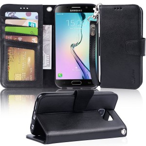 Galaxy S6 Case, Arae Samsung Galaxy S6 wallet case, [Wrist Strap] Flip Folio [Kickstand Feature] PU leather wallet case with IDandCredit Card Pockets For Samsung Galaxy S6 (Black)
