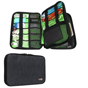 BUBM Universal Electronics Accessories Case Various USB, Phone, Charger, Cable Organizer Travel Organizer Cosmetic Bag- Double Layer, Black