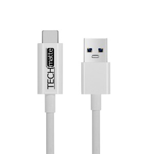 USB Type C Cable (3FT), TechMatte USB 3.0 Type C to Type A (USB-C to USB) Cable for Galaxy Note 8, S8, S8 Plus, Google Pixel, Pixel XL, OnePlus 3, HTC 10, Nexus 5X, 6P, LG G5 (3 Feet, White)