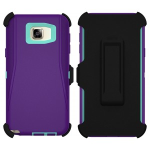 Galaxy Note 5 Case, ToughBox [Armor Series] [Shock Proof] [Purple | Aqua] for Samsung Galaxy Note 5 Case [Built in Screen Protector] [Holster and Belt Clip] [Fits Otterbox Defender Series Belt Clip]