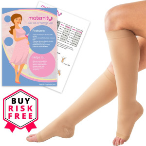 Maternity Compression Socks, 15-21mmHg - Open Toe, Knee High Compression Stockings - Wear with Anything - Breathable, Anti-Bacterial, Anti-Slip, Eco-Friendly - Includes FREE Nylon Compression Sock Aid