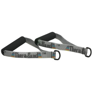 TheraBand Resistance Band Handles, Attachments for Resistance Bands and Tubing, Pair of Foam Grip Pull Handles for Lower and Upper Body Exercises, Pilates, Yoga, Home Workouts without Weights