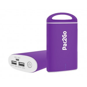 Mobile Power Charger from Pac2Go Portable Charger 7500mAh External Battery Pack Power Bank with Smart Connect Technology for iPhone, iPad, iPod, Samsung, Smartphone and Tablet Battery Backup (Purple)