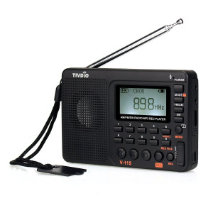 TIVDIO V-115 Portable Shortwave Transistor Radio AM/FM Stereo with MP3 Player Recorder Support T-Flash Card and Sleep Timer (Black)