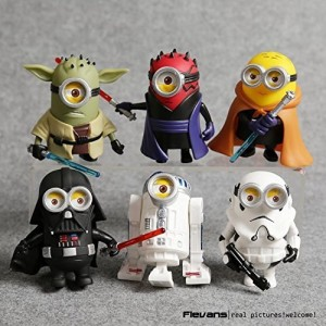 10cm 6pcs/lot Q Style Star War Minions Cosplay Darth Vader and Storm and Yoda Trooper Action Figure Model Toy