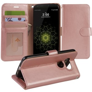 LG G5 Case, Arae [Wrist Strap] Flip Folio [Kickstand Feature] PU leather wallet case with IDandCredit Card Pockets For LG G5 (rosegold)