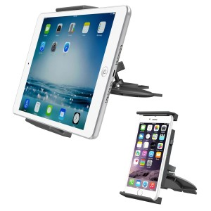 "APPS2Car Universal Tablet CD Slot Car Mount Phone Holder Stand for iPad 2017 10.5"" /Air 1 2/Mini 1 2 3 4/9.7""  Pro, Samsung Galaxy Tab E A S S2 S3, Google Nexus Pixel Android Tablet, iPhone X 8 7 plus"