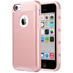 iPhone 5C Case, ULAK Slim Lightweight 2in1 iPhone 5C Cases Hybrid with Soft Rugged TPU Inner Skin and Hard PC Anti Scratches Protective Cover for Apple iPhone 5C (Rose Gold)