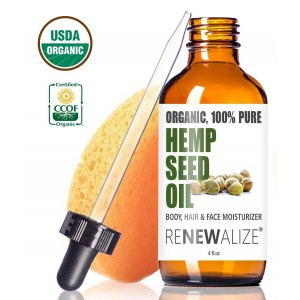 USDA Certified Organic HEMP SEED OIL Facial Moisturizer in LARGE 4 OZ. DARK GLASS BOTTLE | 100% Pure Cold Pressed and Unrefined | Best Daily Skin Moisturizer for Acne Prone Skin , Will Not Clog Pores