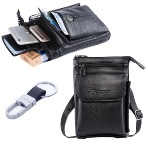 iPhone 7 Plus Case Holster Premium Genuine Leather Men Travel Bag Cell phone Crossbody Purse Belt Waist Pouch Fanny Messager Shoulder Pack for iPhone 6S Plus Samsung S6 S7 Edge Plus+Free Keyring-Black