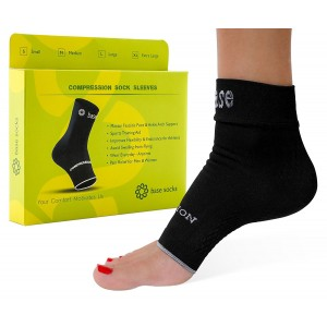 Plantar Fasciitis Socks - BEST German Medical Grade  Compression Foot Sleeves – Ideal for Foot Care, Ankle and Arch Support for Men and Women - Heel and Foot Pain Relief, Base Socks, S-M-L-XL (Black)
