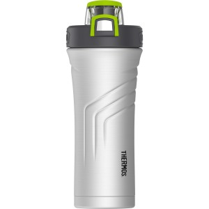THERMOS Vacuum Insulated Stainless Steel Shaker Bottle with Integrated Stationary Mixer, 24-Ounce, Stainless Steel