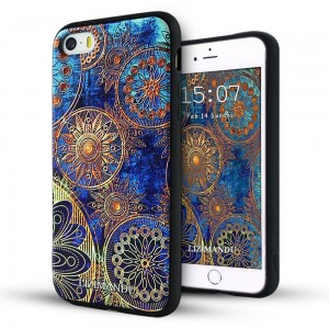 iphone 5s case ,iphone 5 case,Lizimandu soft TPU textured pattern Case for iphone 5/5s/iphone se(Blue Flower)