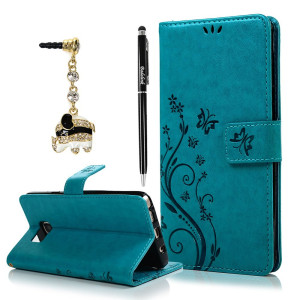 Note 5 Case, Samsung Galaxy Note 5 Case - Badalink Fashion Wallet Purse PU Leather Embossed Flowers Butterfly [Card Holders] Flip Cover with Hand Strap and 3D Cute Elephant Dust Plug and Stylus Pen - Blue