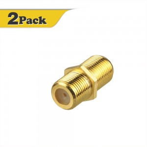 VCE (2-Pack) Gold Plated F-Type Coaxial RG6 Connector,Cable Extension Adapter Connects Two Coaxial Video Cables