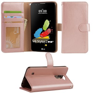 Arae LG G stylo 2 / LG stylo 2 / LG stylus 2 wallet Case with Kickstand and flip cover, Rosegold