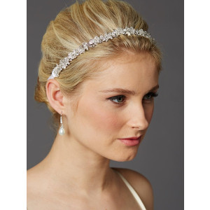 Mariell Crystal Cluster Bridal Wedding Headband Hair Vine with White Satin Ribbon
