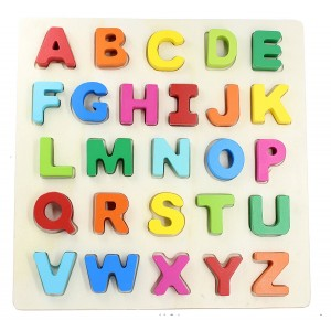 YouandXi Wooden Chunky Alphabet Puzzle Board for Toddlers