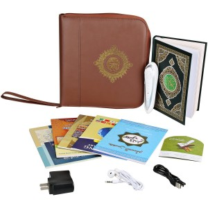 Hitopin Digital Islamic Holy Quran Pen Leather Bag Word-by-Word Function for Kid and Arabic Learner Downloading Many Reciters and Languages Digital Qu'ran Pen 5 Small Books
