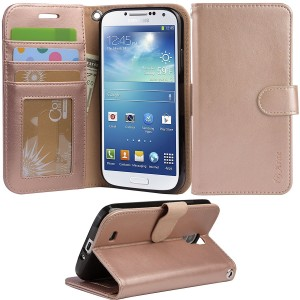 S4 Case, Arae Samsung Galaxy S4 wallet case, [Wrist Strap] Flip Folio [Kickstand Feature] PU leather wallet case with IDandCredit Card Pockets For Samsung Galaxy S4 I9500 (rosegold)