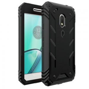 Poetic Revolution Heavy Duty Protection Hybrid Case with screen Protector for Motorola Moto G4 Play (2016) Black