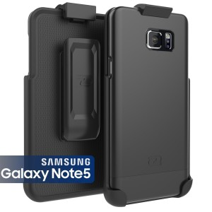 Samsung Galaxy NOTE 5 Case and Belt Clip Holster [Encased] Ultra-Thin (SlimShield Series) Hybrid Shell (Smooth Black)