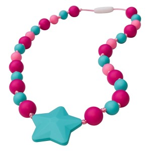 Sensory Oral Motor Aide Chewelry Necklace - Chewy Jewelry for Sensory-Focused Kids with Autism or Special Needs - Calms Kids and Reduces Biting/Chewing - Starlight Necklace (Fuchsia/Aqua/Pink)