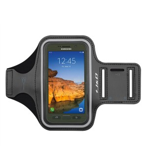 Galaxy S7 Active Armband, JandD Sports Armband for Samsung Galaxy S7 Active, Key holder Slot, Perfect Earphone Connection while Workout Running - Black