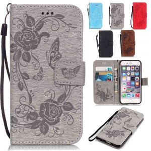 Galaxy S6 Case,Pop Time Butterfly Embossing Magnetic Premium PU Leather Wallet Case Flip Stand For Samsung Galaxy S6 with Wrist Strap (Grey)