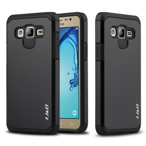 Galaxy On5 Case, JandD [Dual Layer] [Heavy Duty Protection] Hybrid Shock Proof Fully Protective Rugged Case for Samsung Galaxy On5 - Black