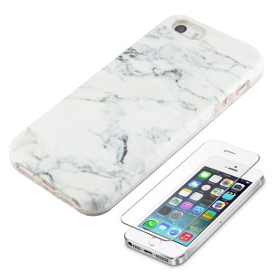 White Marble iPhone SE 5S 5 Protective Case Ucolor Dual-layer Hard PC + Soft TPU Tough Case for iPhone SE 5S 5 with Slim Tempered Glass Screen Protector