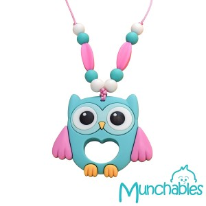 Sensory Oral Motor Aide Chewelry Necklace - Chewy Jewelry for Sensory-Focused Kids with Autism or Special Needs - Calms Kids and Reduces Biting/Chewing/Fidgeting – Aqua Owl