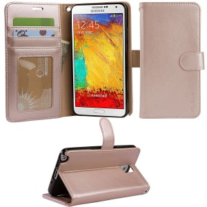 ARAE Samsung Galaxy Note 3 wallet Case with Kickstand and Flip cover, Rose Gold