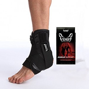 Venom Neoprene Ankle Brace Lace Up Support - Adjustable Stabilizers and Elastic Compression for Sprained Foot, Tendonitis, Basketball, Volleyball, Soccer, MMA, Athletics, Running, Sports, Men, Women