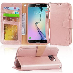 S6 Case, Arae Samsung Galaxy S6 wallet case,[Wrist Strap] Flip Folio [Kickstand Feature] PU leather wallet case with IDandCredit Card Pockets For Samsung Galaxy S6 (rosegold)