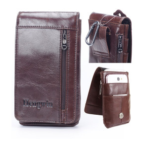iPhone 7 Plus Belt Clip Pouch,Genuine Leather Vertical Cellphone Holster Waist/Belt Bags for Men Galaxy Note 4 case Men's Purse Carrying case for iPhone 6s Plus S7 Edge Plus LG G4/G5+Keychain-Brown